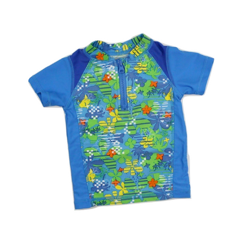 Athletic Works Boys Blue and Green Rash Guard Top with Front Zipper in Size 2 Available Online at Gently Used Kids Clothes Resale May Bug Treasures