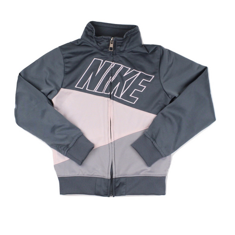 Girls Nike Zip Up WarmUp Jacket in Grey and Pink, Size 6 Available Online At Gently Used Kids Clothes Resale May Bug Treasures