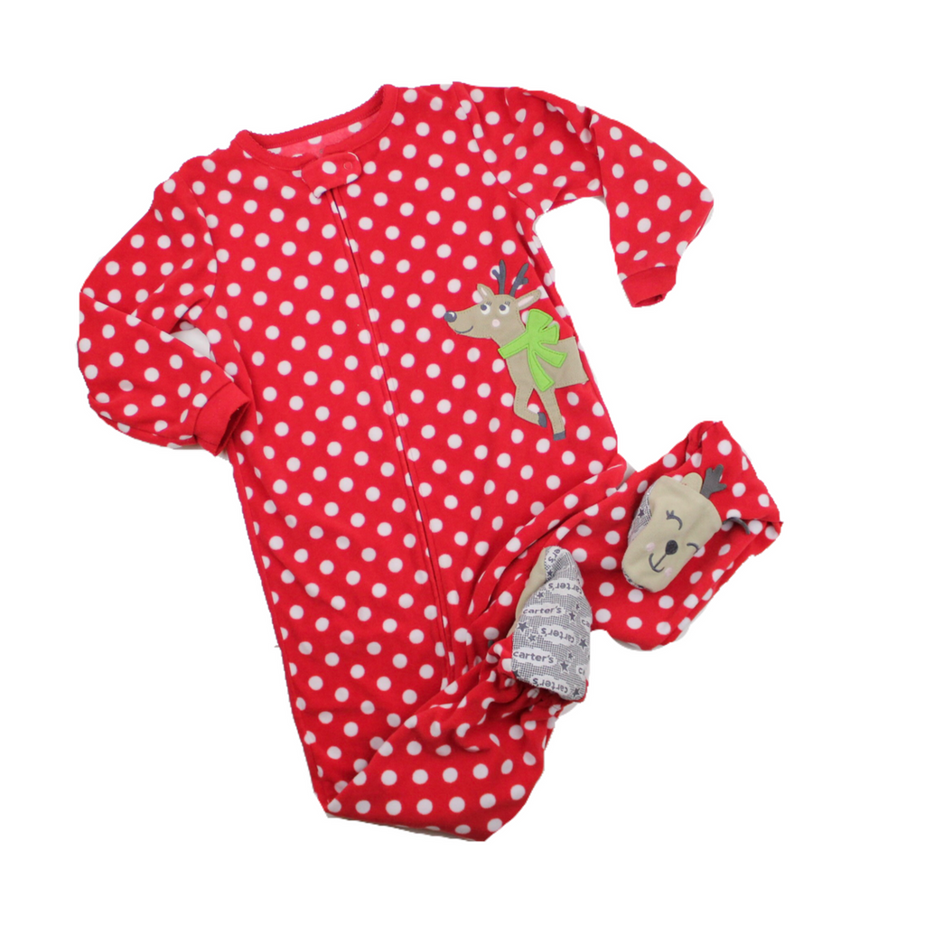 Carter's Kids Red Polka Dot Fleece Reindeer Sleeper in Size 4T Available Online At Gently Used Kids Clothes Resale May Bug Treasures