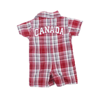 Infant Boys Red Plaid Canada Romper in Size 0-3 Months - May Bug Treasures