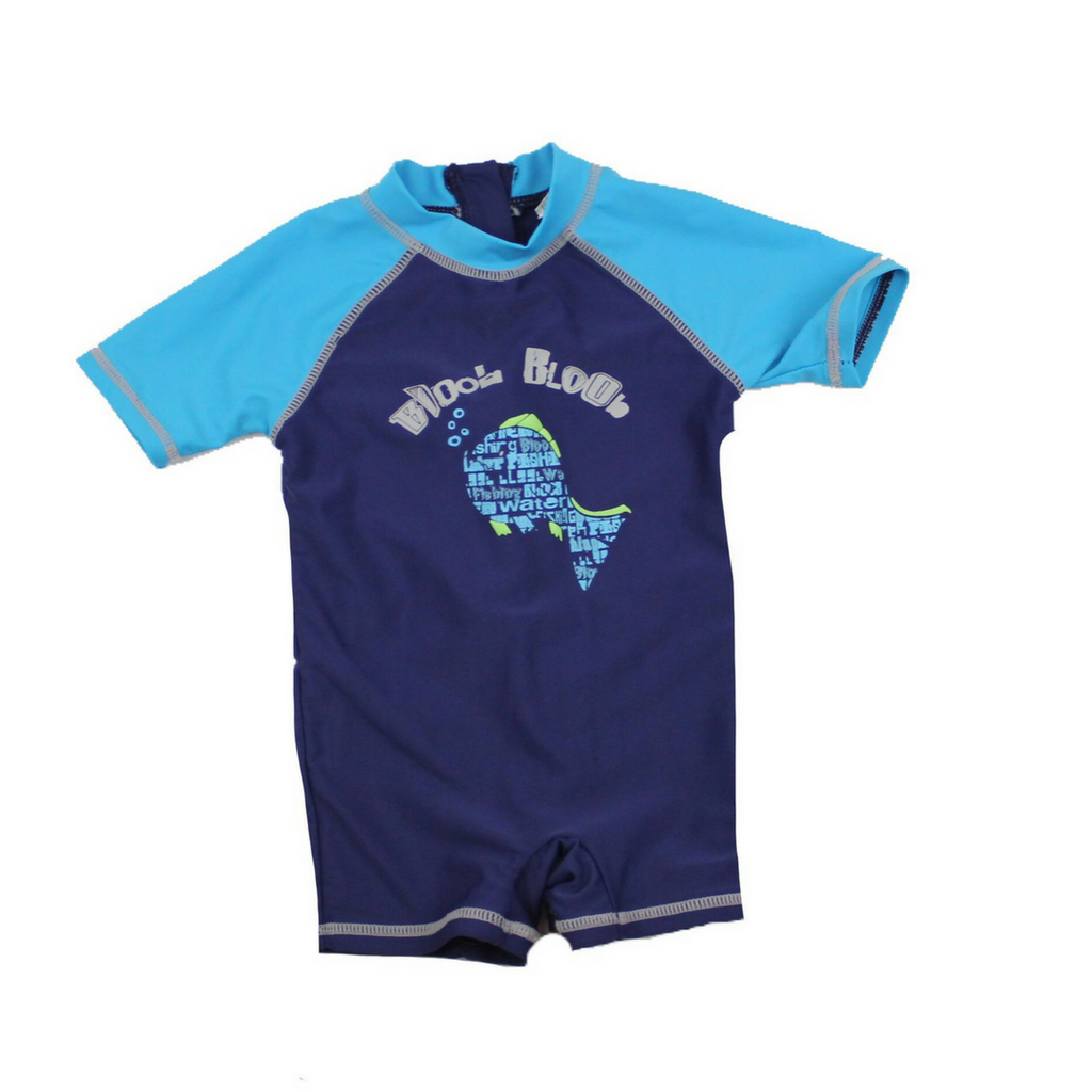 Rash Guard Swimsuit Navy & Turquoise, Size 24 Months - May Bug Treasures