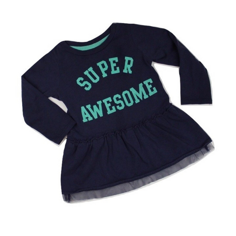 Girls 'Super Awesome' Navy Dress, Size 18 Months - May Bug Treasures