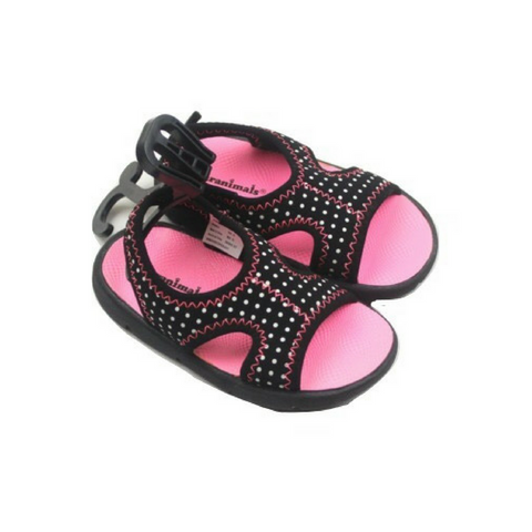 Brand New Toddler Girls Black Polka Dot Sandals, Size 6 - May Bug Treasures