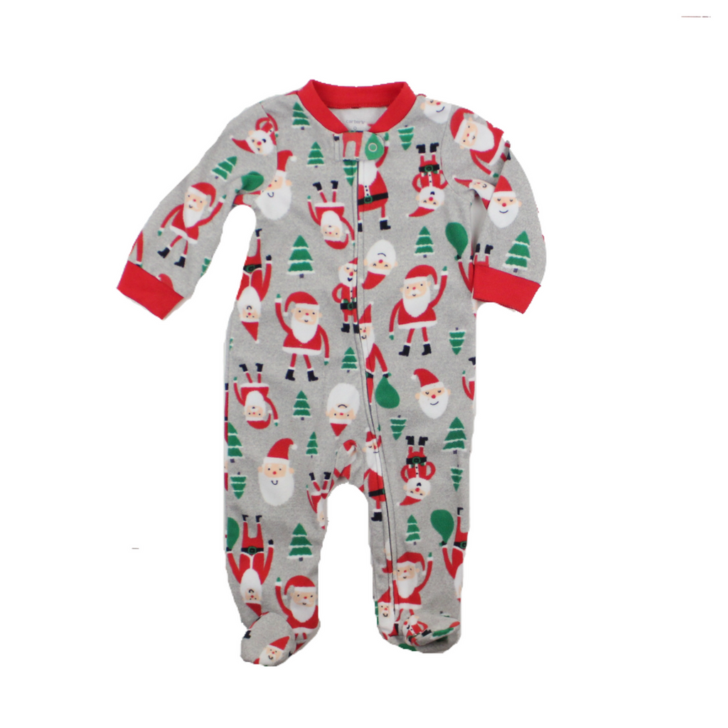 Infant Boys Grey Fleece Santa Sleeper, Size 9 Months - May Bug Treasures