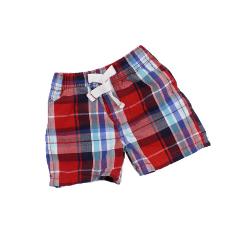 Osh Kosh Boys  Red and Blue Plaid Shorts, Size 3 Months - May Bug Treasures