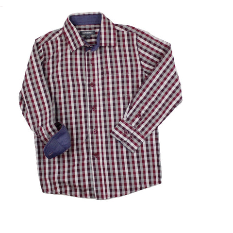 Newberry Boys Burgandy Check Long Sleeve Button Down Shirt with Contrasting Blue Chambray Inner Cuff and Collar, Size 6 Available Online at Gently Used Kids Clothes Resale May Bug Treasures
