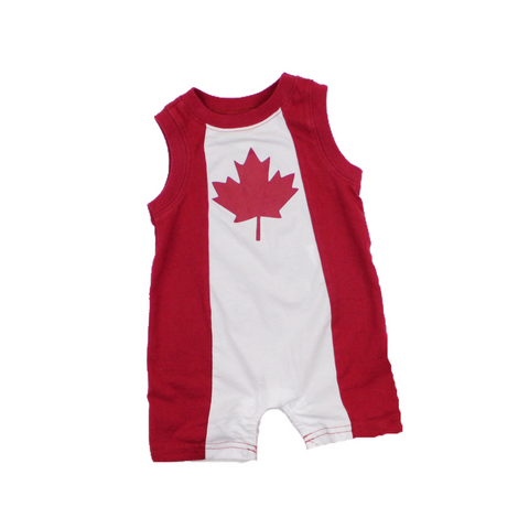 Infant Boys Red and White Canada Romper, Size 0-3 Months - May Bug Treasures