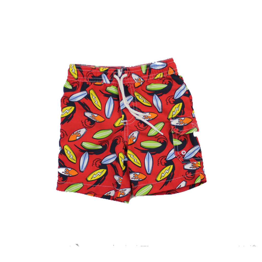 Toddler Boys Red Swim Suit with Surfboard Motif, Elastic Waist and Velcro Pocket by Greendog in Size 12 Months Available Online at Gently Used Kids Clothes Resale May Bug Treasures