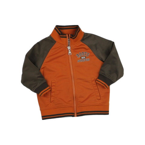 Roots Toddler Brown and Orange Zip Up Nylon Warm Up Jacket in Size 12-18 Months Available Online At Gently Used Kids Clothes Resale May Bug Treasures