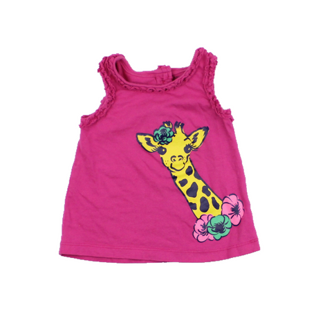 Nevada Toddler Girls Pink Giraffe Tank Top, Size 12 Months - May Bug Treasures