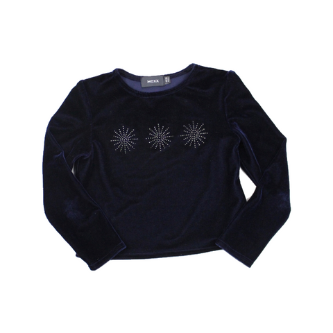 Mexx Girls Navy Velour Snowflake Top, Size 5-6 - May Bug Treasures