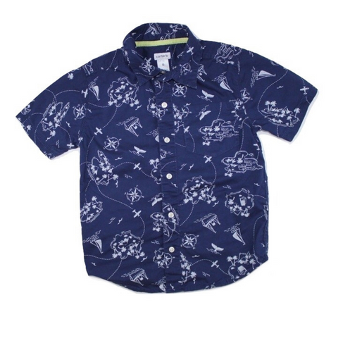 Boys Navy Pattern Button Down Short Sleeve Shirt, Size 6 - May Bug Treasures