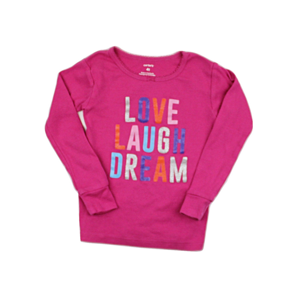 Carter's Girls Pink Love, Laugh, Dream Top, Size 4T - May Bug Treasures