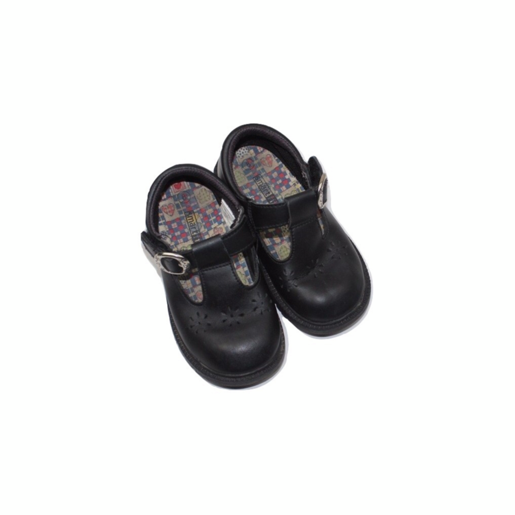 Toddler Girls Black Leather Mary Jane Shoes, Size 8 - May Bug Treasures