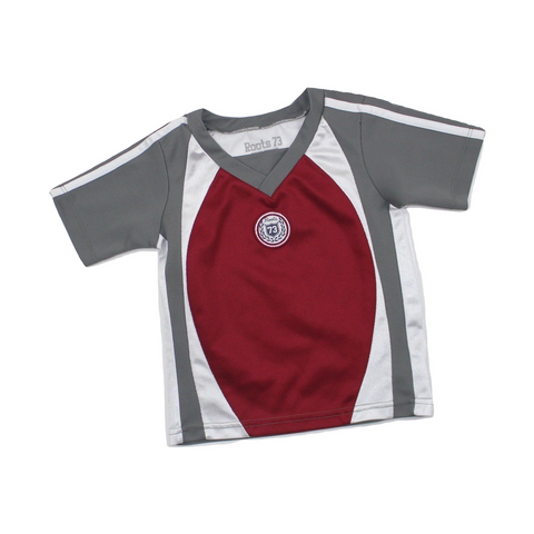 Roots Boys Grey and Burgandy Short Sleeve Shirt, Size 2T Available Online at Gently Used Kids Clothes Resale May Bug Treasures