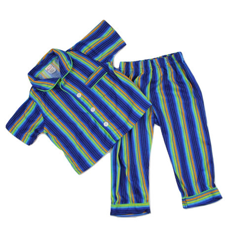 Toddler Blue Stripe Short Sleeve 2-Piece  Pjs, Size 12 Months - May Bug Treasures