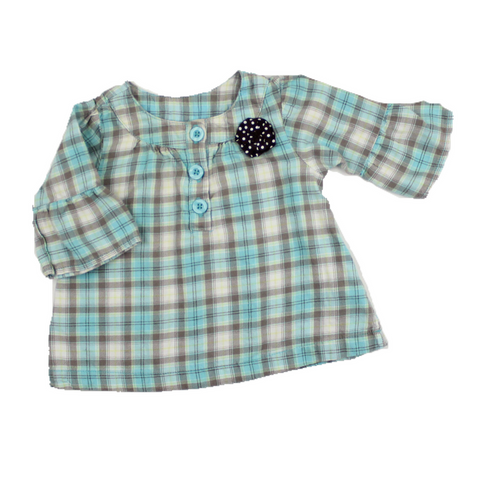 Carter's Girls Bell Sleeve Flannel Shirt, Size 12 Months - May Bug Treasures
