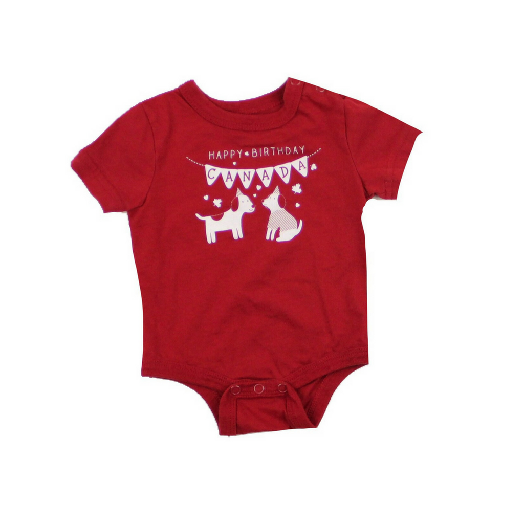 Happy Birthday Canada Red Bodysuit, Size 0-3 Months - May Bug Treasures