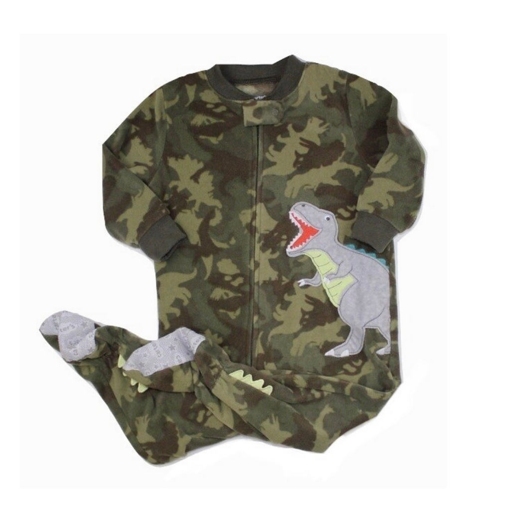 Camouflage Dinosaur Fleece Zip Up Sleeper, Size 18 Months - May Bug Treasures