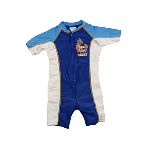 Please Mum Boys One-Piece Zip-Up Rash Guard Swimsuit, with Crab Emblem, Size 18 Months Available Online at Gently Used Kids Clothes Resale May Bug Treasures