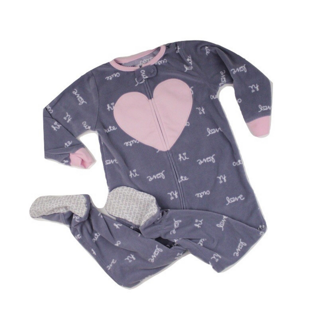 Girls Grey Fleece Sleeper with Pink Heart, Size 2T - May Bug Treasures