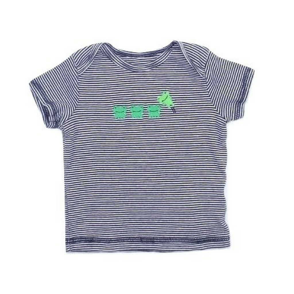 Carters Infant Navy White Stripe Frog T-shirt, Size 6-9 Months - May Bug Treasures