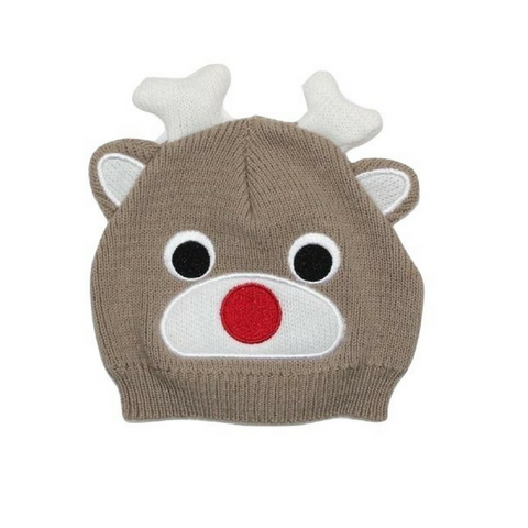 Brand New Rudolph Reindeer Knit Hat, Size 0-12 Months - May Bug Treasures