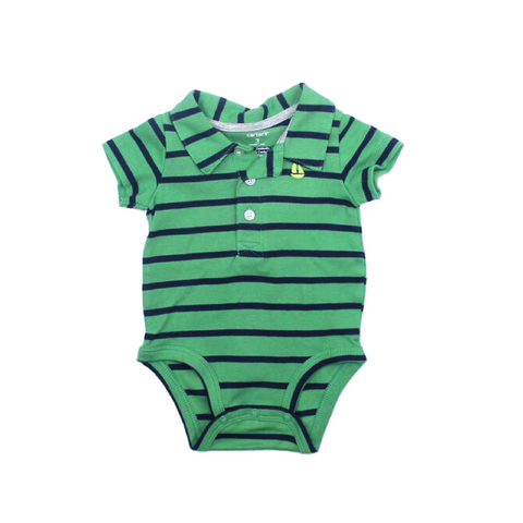 Infant Boy Green Stripe Polo Style One-Piece Bodysuit Size 3 Months - May Bug Treasures