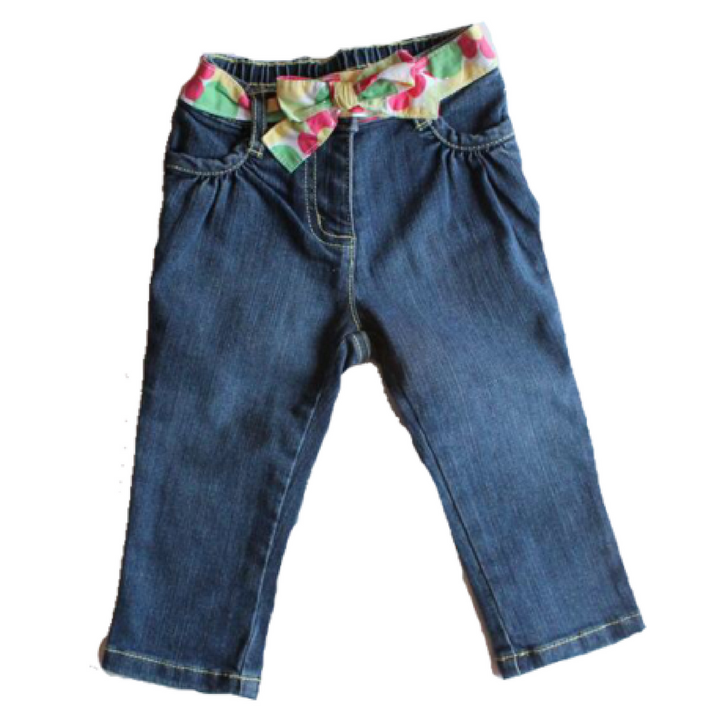 Gymboree Toddler Girls Jeans with Tie Belt, Size 12-18 Months - May Bug Treasures