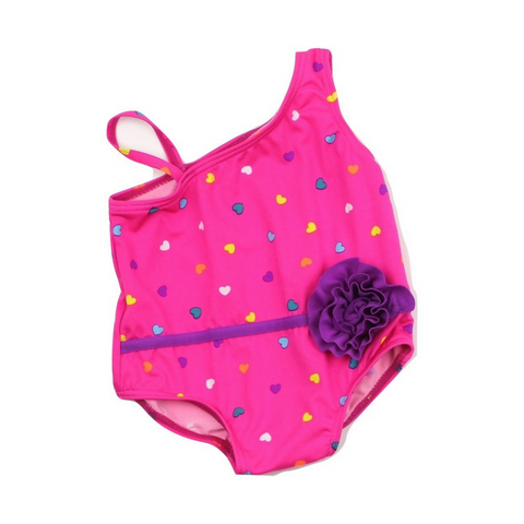 Children's Place Infant Girls One-Piece Bathing Suit in Pink with Hearts, Size 3-6 Months Available Online at Gently Used Kids Clothes Resale May Bug Treasures