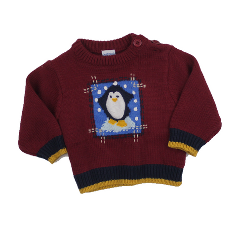 Please Mum Infant Wine Penguin Sweater, Size 6 Months