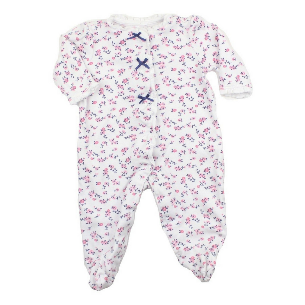 Infant Girls White and Pink Floral Sleeper, Size 6 Months - May Bug Treasures