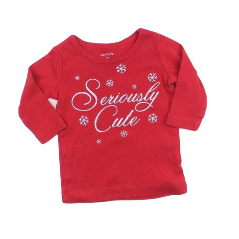 Infant Girls Long Sleeve Seriously Cute Red Top, Size 3 Months - May Bug Treasures