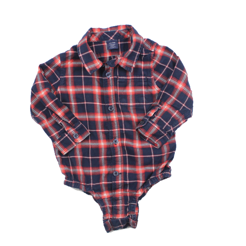 ad5564fde Baby Gap Navy and Red Flannel Shirt Bodysuit, Size 18-24 Months ...