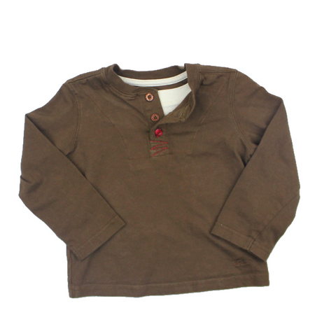 Roots Brown Long Sleeve Henley Top in Size 2T Available Online at Gently Used Kids Clothes Resale May Bug Treasures