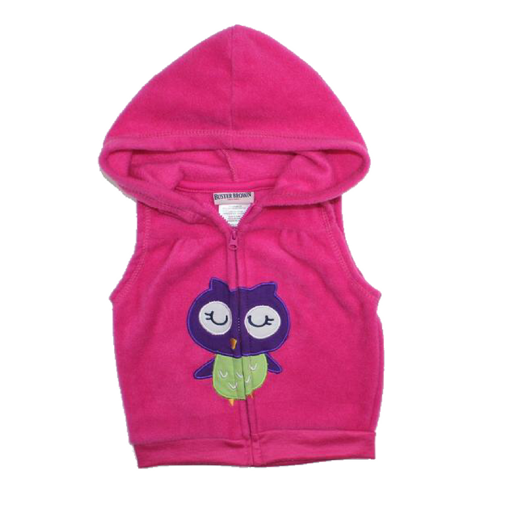 Buster Brown Infant Pink Fleece Vest Hoodie, Size 6-9 Months - May Bug Treasures