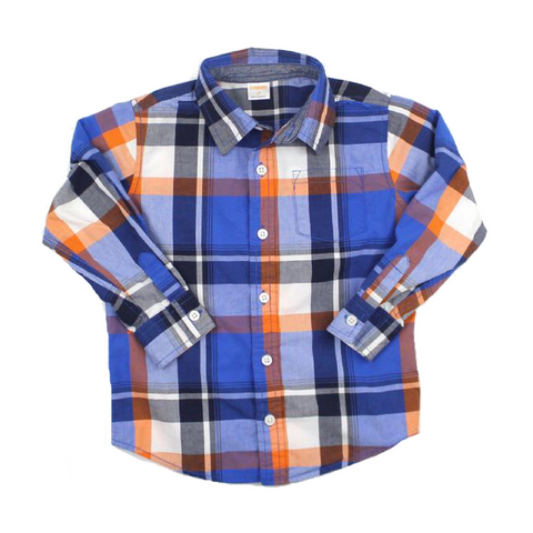 Boys Navy and Orange Plaid Long Sleeve Shirt, Size 4T - May Bug Treasures