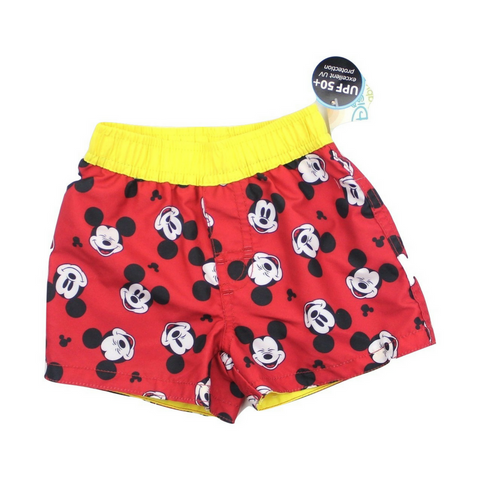 Brand New (NWT) Disney Baby Infant Red Swim Shorts with Mickey Mouse in Size 3-6 Months Available Online at Gently Used Baby Clothes Resale May Bug Treasures
