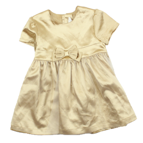 Toddler Girls Gold Party Dress, Size 12-18 Months - May Bug Treasures
