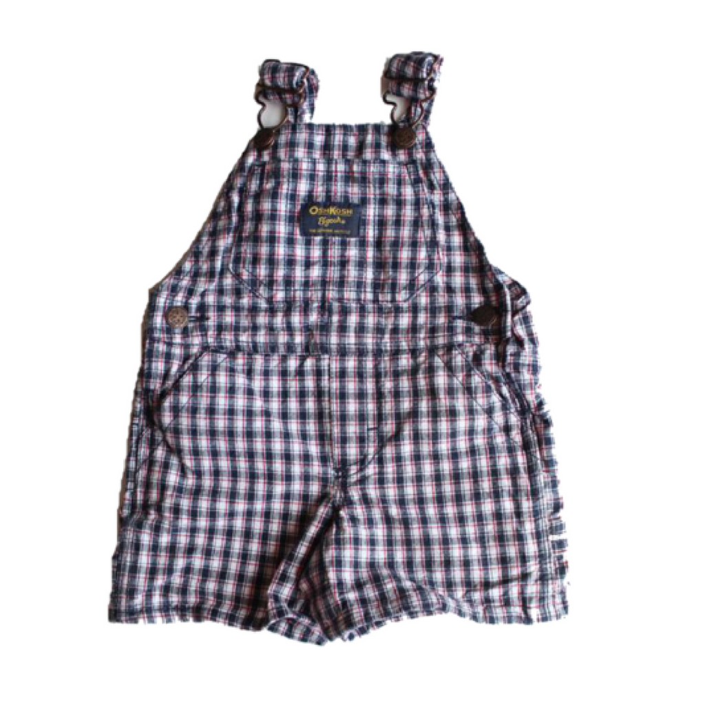 Osh Kosh Infant Navy and Red Plaid Shortalls, Size 6 Months - May Bug Treasures