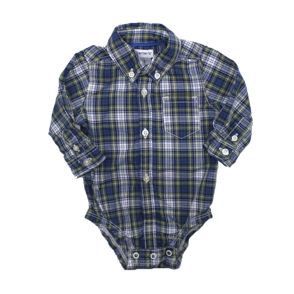 Carters Infant Boys Plaid Shirt One-Piece Bodysuit Size 3 Months - May Bug Treasures