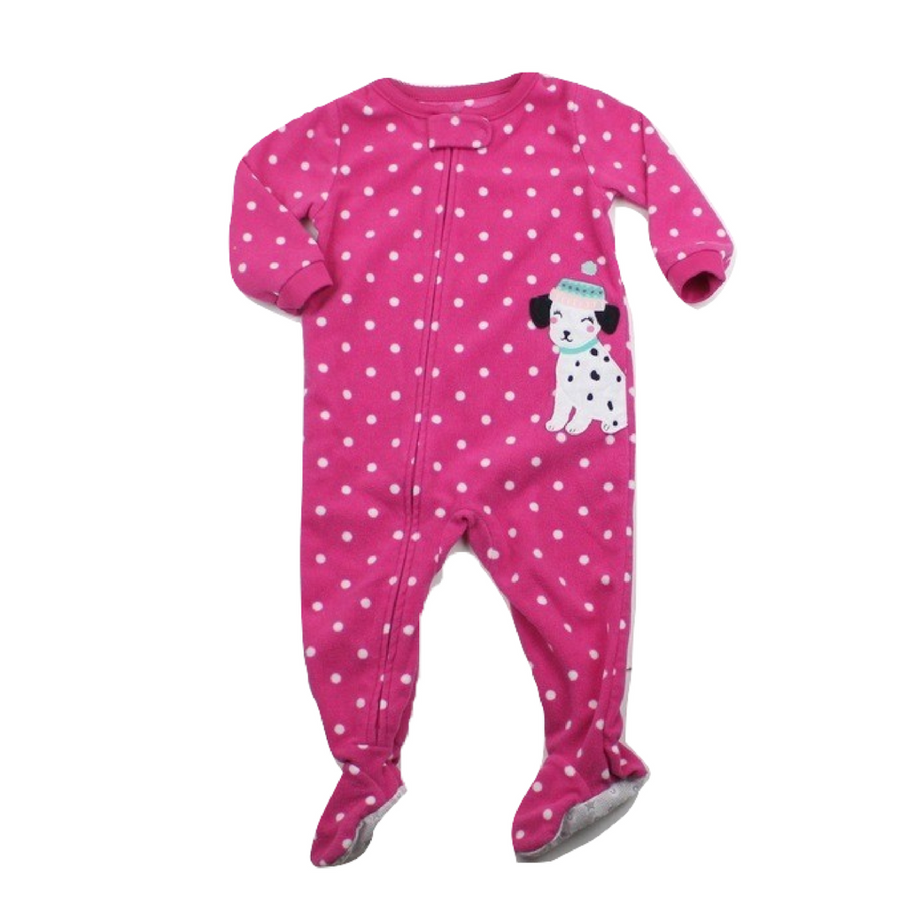 Girls Pink Polka Dot Fleece Dalmatian Sleeper, Size 12 Months - May Bug Treasures