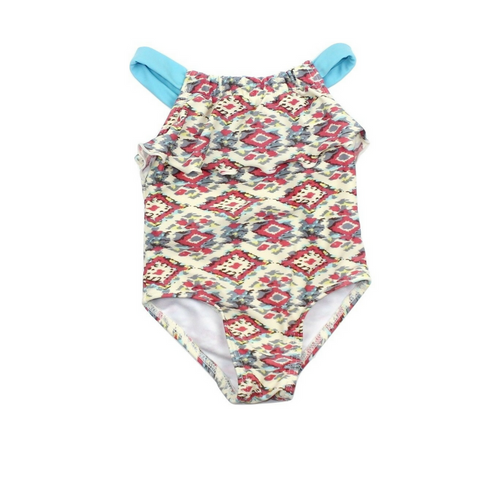 Infant Girls One-Piece Bathing Suit in Cream Pink Teal Design with Top Ruffle Size 3-6 Months Online at Gently Used Kids Clothes Resale May Bug Treasures