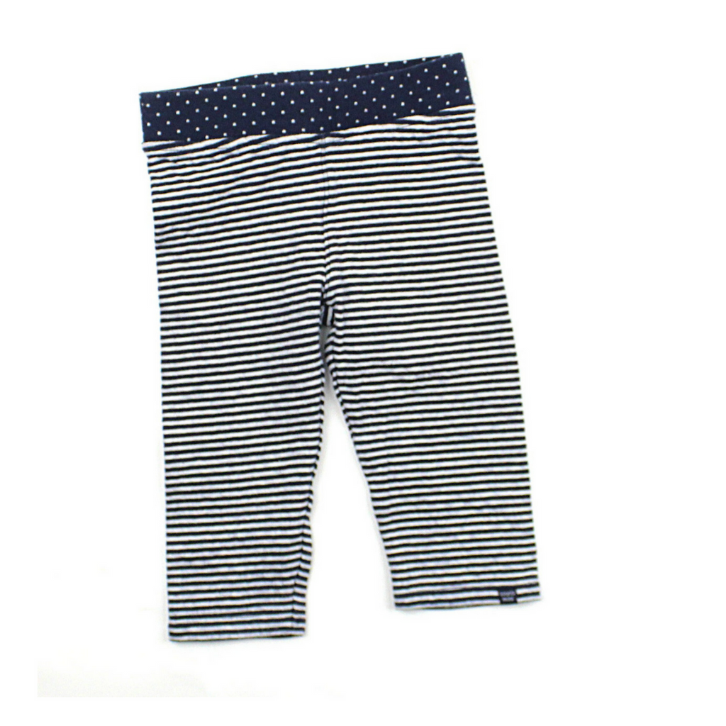 Souris Mini Girls 3/4 Length Navy and White Striped Leggings in Size 3 Available Online at Gently Used Kids Clothes Resale May Bug Treasures