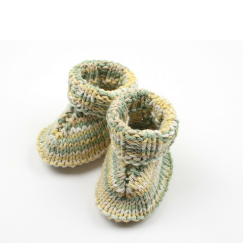 Hand Knit Baby Booties, Green Multi - May Bug Treasures