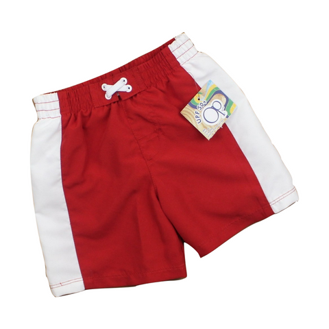 Brand New (NWT) OP Toddler Boy Red and White Swim Shorts in Size 12 Months Available Online at Gently Used Kids Clothes Resale May Bug Treasures