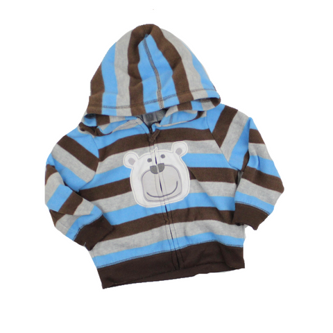 Carters Toddler Zip Up Fleece Bear Hoodie in Brown, Blue and Grey Stripes, Size 18 Months Available Online at Gently Used Kids Clothes Resale May Bug Treasures