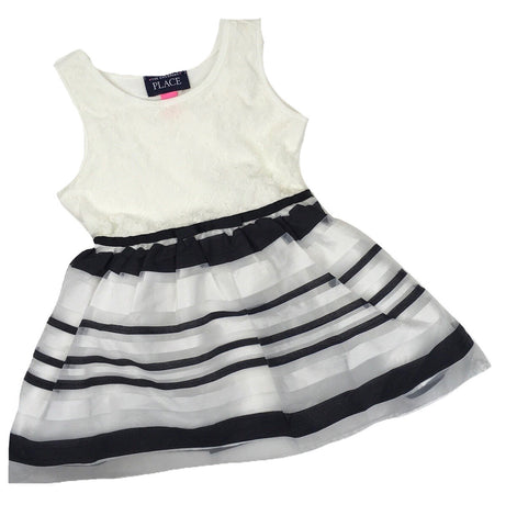 Children's Place Dress with Black and White Striped skirt, Size 18-24 Months - May Bug Treasures