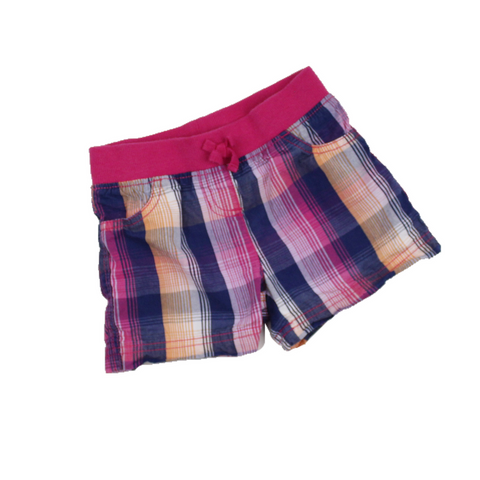 Girls Pink and Navy Plaid Shorts, Size 5 - May Bug Treasures
