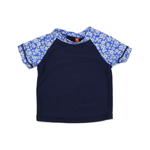 Kids Navy Rash guard with Floral Short Sleeves, Size 3 - May Bug Treasures
